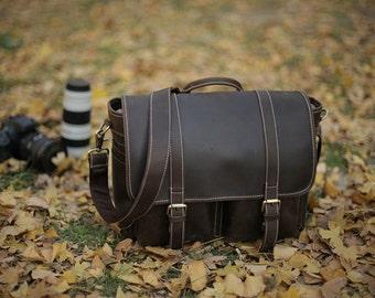 Leather DSLR Camera Bag in Dark Brown with Insert Divider/ Messenger Bag/ Shoulder Bag