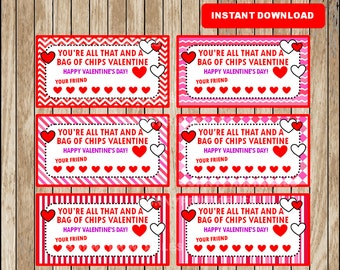 image about You Re All That and a Bag of Chips Printable named printable satisfied valentines working day playing cards youre all that and a