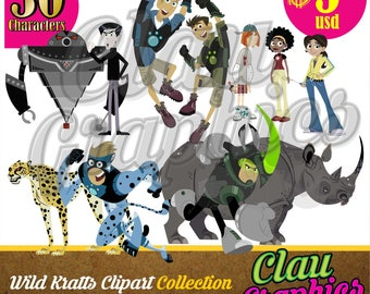 Wild Kratts clipart, digital illustrations, Receive this Great Characters Collection PNG images Transparent Background 300 dpi
