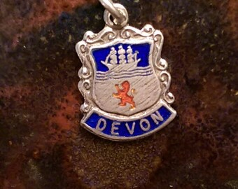 Devon England vintage sterling silver enamel travel shield charm necklace pendant or keychain charm