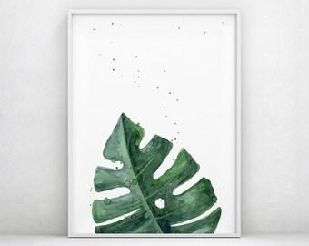Tropical Print, Monstera, Palm Leaf Print, Banana Leaf Print, Green, Leaves, Botanical Print, Palm Print, Scandinavian Poster, Nature Art