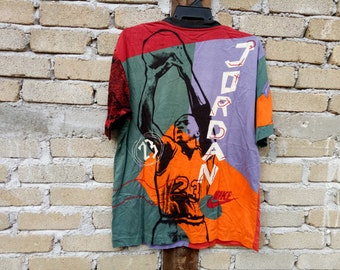 Rare!!  Vintage NIKE AIR JORDAN t-shirt pull over print multicolour medium size