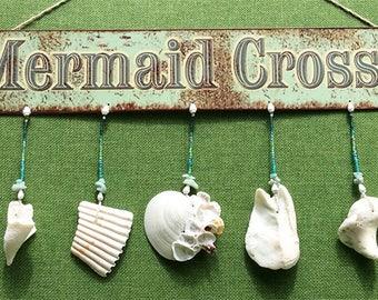 Mermaid Crossing Hanging Metal Sign