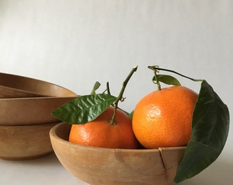 Set of Four Perfectly Aged Wooden Bowls