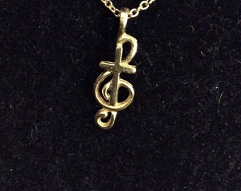 Join the Chorus! Goldtone Clef and Cross Pendant