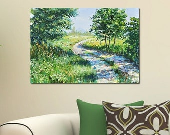 Original painting  Nature Art Contemporary Painting Road in the field Modern Artwork Large  Abstract Sunny day Oil Painting