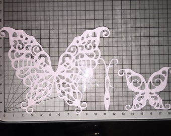 Tattered lace build a butterfly die cuts x 8 in white ready to be glittered and personalised. For card making and scrapbooking