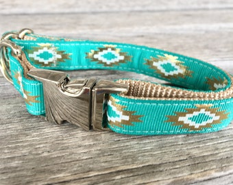 "Aztec 5/8"" Dog Collar, Gold and Mint Dog Collar, Metal Buckle, Pink Aztec Dog Collar, Tribal Dog Collar, Gold Foil Dog Collar, Coral"