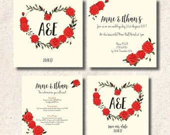 Rose Heart Traditional Style Wedding Invitation Set and Save The Dates