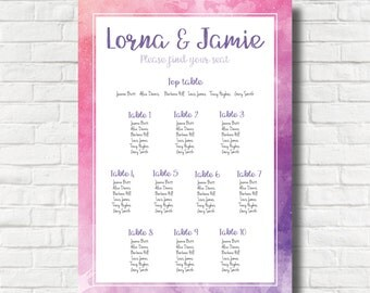 Water Colour Effect Wedding Day Table Plan Pinks Purples