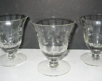 Vintage Etched Stemmed Crystal Wine Glasses. Set of 3. Beautiful floral & vine design.