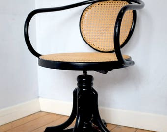 Iconic Thonet Bentwood Styled Swivel Desk Chair by ZPM Radomsko in Black lacquer & Rattan Cane