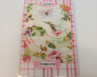 "Travelers Notebook POCKET Size Laminated ""Love"" & ""Inspire"" Dashboard with Back Pocket for Chic Sparrow, Foxy Fix, Midori, Fauxdori, TN"