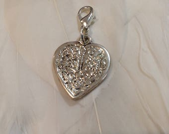 Travelers Notebook SILVER VINTAGE HEART Charm.