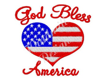 God Bless America - machine embroidery design