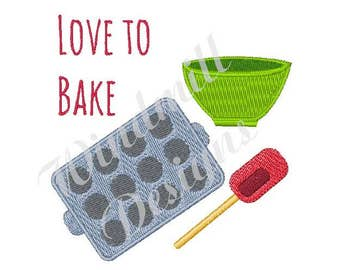 Love To Bake - Machine Embroidery Design