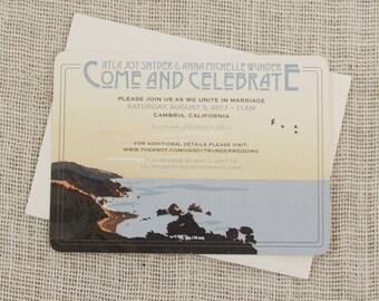 Big Sur California Coast 5x7 Wedding Invitation with A7 Envelope // 5x7 Wedding Invite with Envelope-TE1