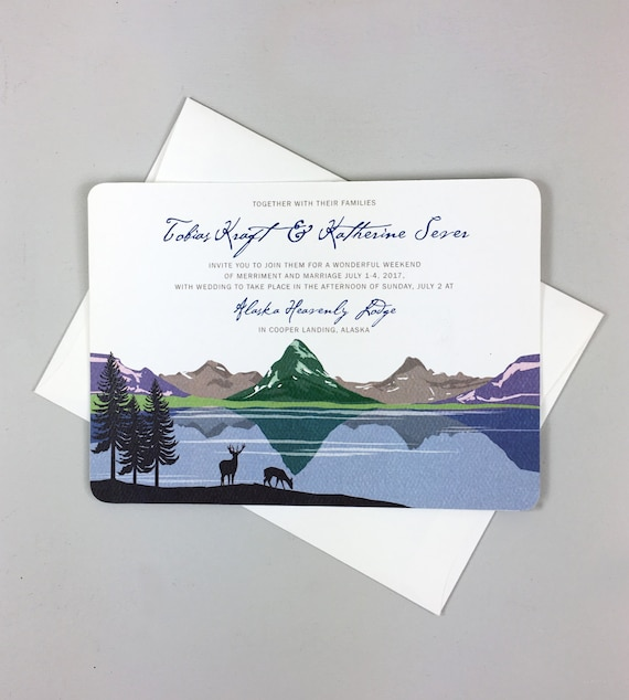 6x9 Wedding Invitation Envelopes: Many Glacier Valley Wedding Invitation // 5x7 2-sided Wedding