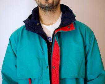 1990s Men's Eddie Bauer Hooded Parka // Vintage Eddie Bauer Turquoise Rain Jacket