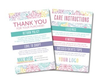 Thank You Card, Care Card, Care Instructions, Return Policy size 4x6- Approved Fonts and Colors- Digital File
