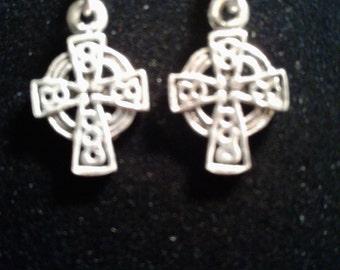 Sterling silver celtic cross earring