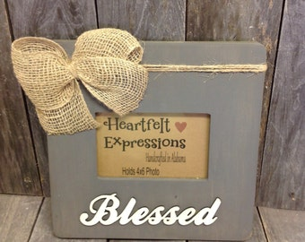 "Rustic Distressed Picture Frame ""Blessed"" 4x6"
