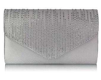 Ivory & Silver Diamante Clutch Bag - Bridal Prom BAG 57