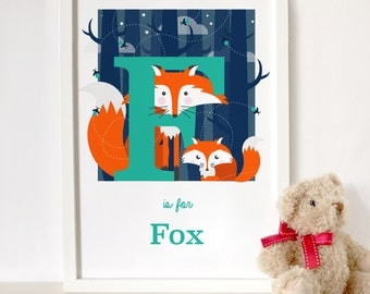 Fox letter print, animal alphabet print, letter F print, nursery print, gift for baby, gift for animal lover, fox print, nursery gift