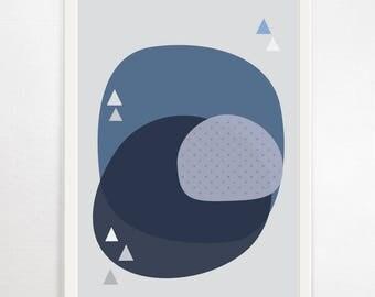 Abstract Art, Abstract Print, Abstract Wall Art, Modern Art Print, Modern Poster, Scandi Art, Large Modern Art, Abstract Art Print, Blue