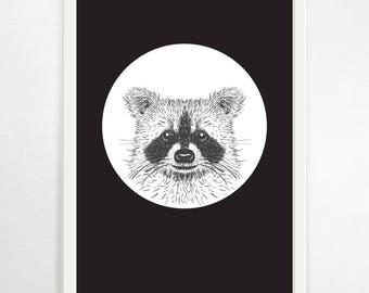 Raccoon, Childrens Prints, Monochrome Nursery, Nursery Print, Monochrome Print, Woodland Nursery, Nursery Wall Art, Animal Print, Kids Art