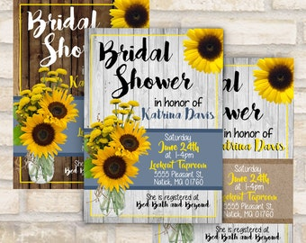 Rustic sunflower and mason jar bridal shower invitation or baby shower invitation in yellow and blue wood custom digital download or mailed