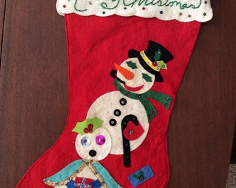 Vintage Felt and Sequin Stocking 2 Sided