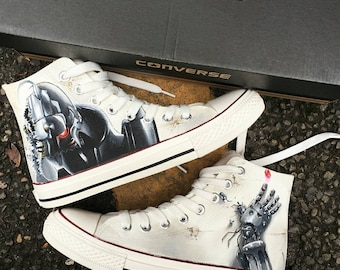 Custom Sneakers, Customized Converse, Fullmetal Alchemist Manga, Hand painted Shoes, Anime, Painted Sneakers, Birthday Gift, Boyfriend Gift
