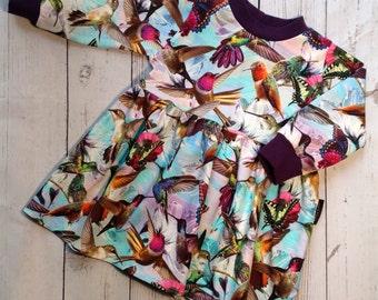 Hummingbird Dress - Girls Dress, Baby Girls Dress, Baby Dress, Toddler Dress, Winter Dress, Baby Girls Clothes, Bird Clothes, Winter Clothes