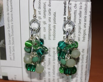 Cluster earrings with crystals and semiprecious shades of green