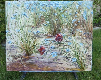 Painting flowers,butterfly painting,meadow grasses,oil painting,summer landscape,artistic interior,picture wedding,picture bedroom,Flax blue
