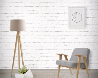 White Brick Wallpaper, Printed, Wall Decor, Removable Wallpaper