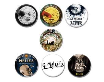 Le Voyage Dans La Lune buttons, badges set of 7! (George Melies, Trip To The Moon)