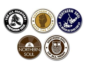 Northern Soul buttons/badges set of 5! (mod, motown, pinbacks)