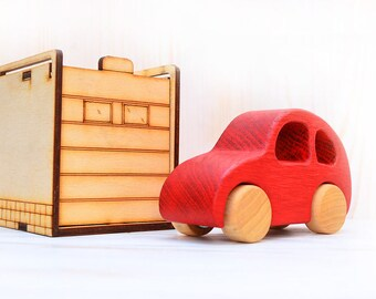 Wooden car, Car Volkswagen Beetle, Wooden toy on wheels, Wood toy VW model, Toddler boys birthday gift, Car with garage, Waldorf push toy