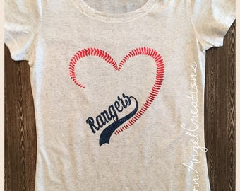Texas Rangers Stitched Heart