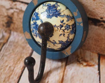 Rustic Look Blue Ceramic Ball Hook ideal for Home Projects