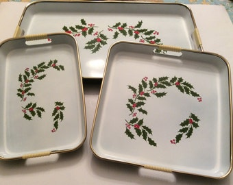 Set of Three Vintage Christmas Trays Made in Japan