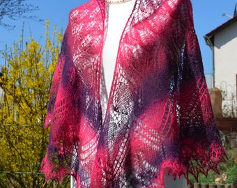 Summerly, scarf, shawl with beads, hand-knitted, large XXL