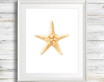 Starfish Watercolor Painting. Fine Art Print. Decor. Nautical. Giclée
