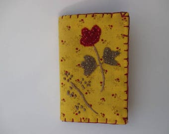 Needle Book/Needle Case/Needle Holder Mustard Yellow with Red Flower