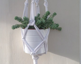 White macrame hanging planter made with 'jersey be good' cotton