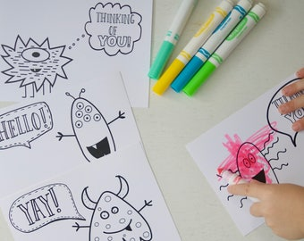 Happy Mail Monster Coloring Cards and Postcards, 5x7, Ready to Print