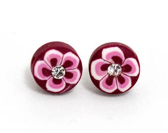 Stud Hawaiian Flower Earrings With Rhinestones