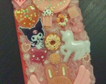 Glitter pink Kuromi decoden phone case for iPhone 6 Plus